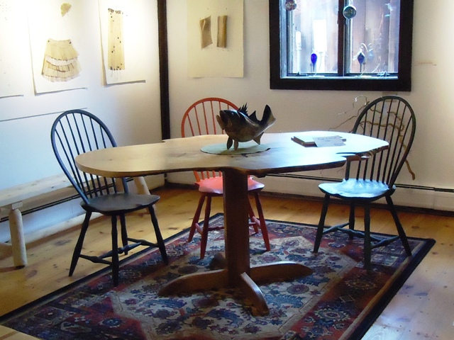 Windsor Loopback chairs with Rustic Maple Slab Table