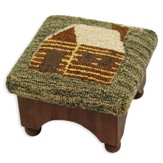 Foot Stool with Cabin design Hooked Wool top