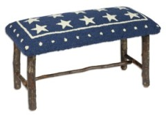 Hickory Bench with Blue Lonestar Hooked Wool top