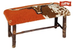 Hickory Bench with Longhorn Steer Hooked Wool top