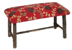 Hickory Bench with Ruby Pinecone Hooked Wool top