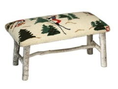 Hickory Bench with Winter Skiers Hooked Wool top
