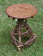 Rustic Furniture - Round Copper topped Willow Spiral base table