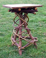 Rustic Furniture - Square Painted top Willow Spiral base table