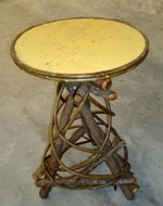 Rustic Furniture - Round painted top Willow Spiral base table